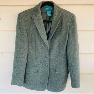 Green Herringbone Tweed Pure Wool Blazer